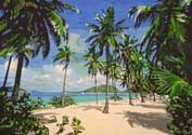 Paradisiac South Sea. Oil-painting with 18 colors, 339x244 mm, May 1999 until February 2000